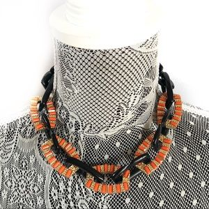 New Topshop orange & black acrylic resin necklace